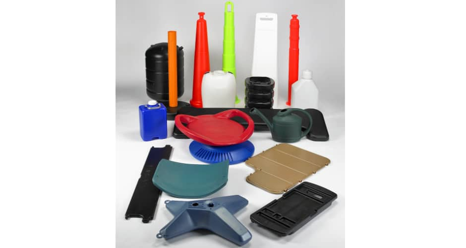 large assortment of blow molded plastic products
